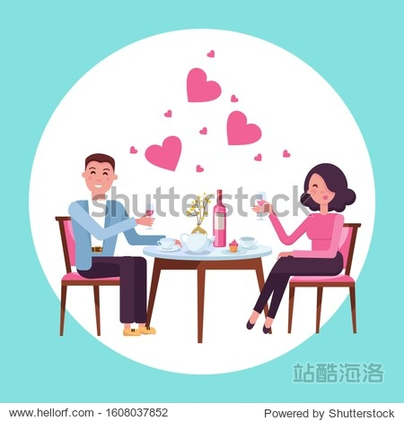 Romantic Valentine's day date of man and woman in restaurant. Couple in love. People sitting at the table with a glass of wine. Romance relationship. Isolated flat vector illustration.