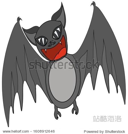 Sketch cute vampire bat spread its wings