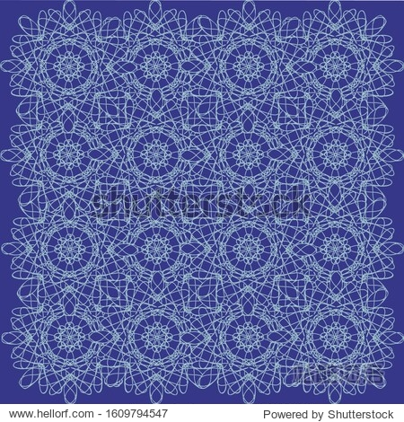 Openwork pattern of white color on a blue background