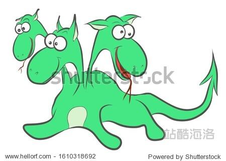 Sketch  cute green dragon with three heads