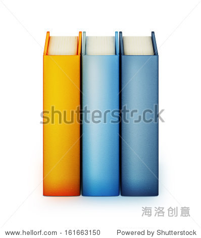 3d illustration of three vertical books isolated on white