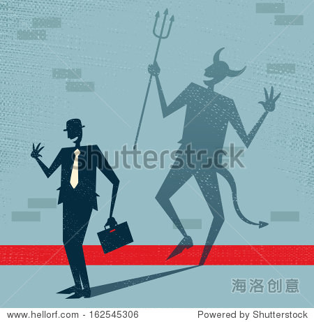 Abstract Businessman is the Devil in Disguise. Vector illustration of Retro styled Businessman who's shadow reveals him to be somebody quite sinister in the form of a Dancing Devil.