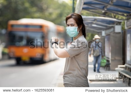 Asian woman wearing hygienic mask to preventing new viruses epidemic spread of diseases  Coronavirus MERS-CoV  respiratory disease air contamination dust PM2.5 air pollution problems health care