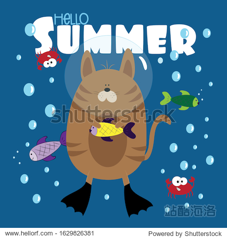 Hello Summer text- with funny cat and fishes  and cute crabs  in sea. Good for  cover  card  poster  banner  textile print  and gift design.