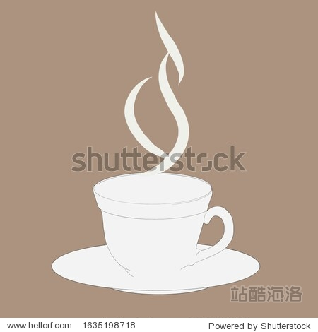 Image of a cup and saucer of steam over a mug from hot tea  coffee. Creative design for backgrounds.