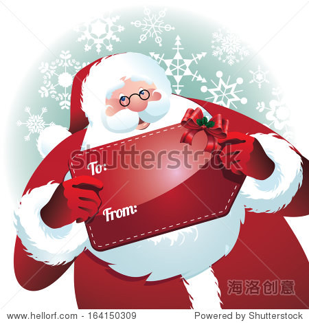 Santa Claus holding gift name tag. jpg.