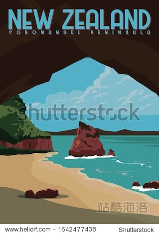 Coromandel Peninsula Vector Illustration. Travel to Coromandel Peninsula on North Island New Zealand. Flat Cartoon Vector Illustration in Colored Style.