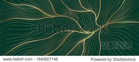 Luxury golden emerald wallpaper.  Abstract gold line arts texture with green emerald background design for cover  invitation background  packaging design  fabric  and print. Vector illustration.