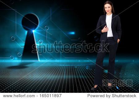 Composite image of portrait of a confident businesswoman standing