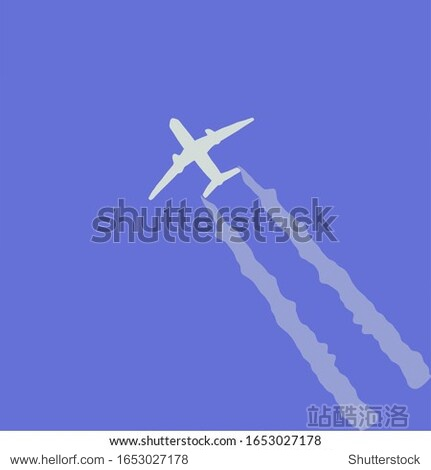 Sketch  a plane flies through the sky leaving a white trail. Suitable for postcard  logo  business card  book
