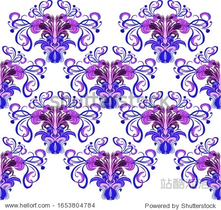 Pattern  tropical flowers in violet color. Creative design for various backgrounds