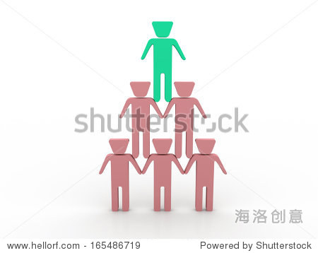 3d people - men  person sit in pyramid. Businessman