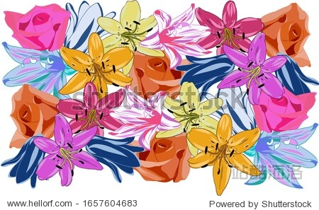 Floral pattern  lilies  bell  roses. Suitable for various backgrounds  printing on fabric  wallpaper  holiday packaging  greeting card