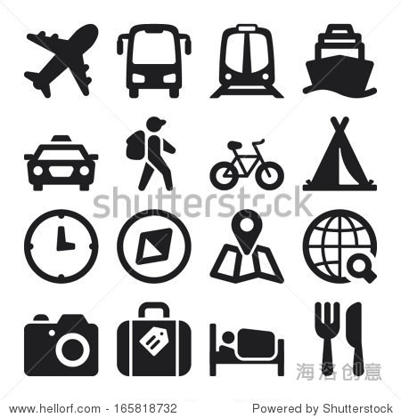 Set of black flat icons about travel