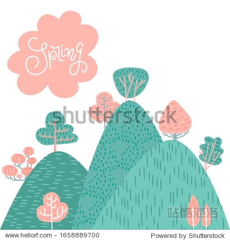 Spring or summer landscape background. Forest on mountains  hills  green and pink trees  cloud withh lettering on the sky. Hand drawn vector doodle illustration of nature