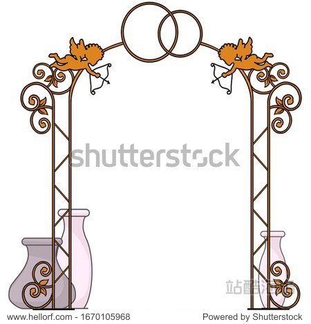 Sketch  forged arch decorated with cupids  wedding rings. Antique pots stand nearby. Suitable for logo  book  symbol  invitation  greeting card