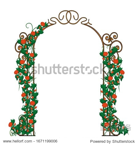 Sketch forged arch decorated with red roses and green leaves. Suitable for logo  book  symbol  invitation  greeting card