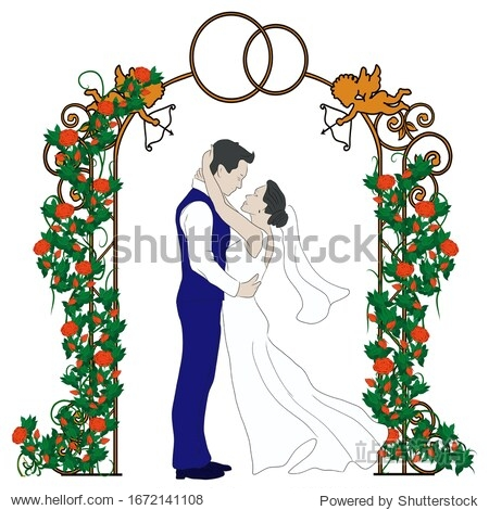 A sketch of a bride and groom in a wedding arch with flowers. Suitable for logo  book  symbol  invitation  greeting card