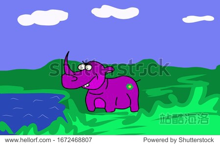 A sketch  a rhinoceros of purple color stands near the lake. Blue sky with clouds. Green grass. Suitable for logo  book  symbol  invitation  greeting card