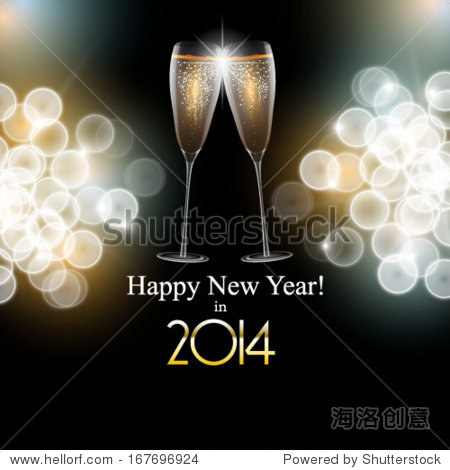 Vector Happy New Year background with a toasting pair glass of champagne