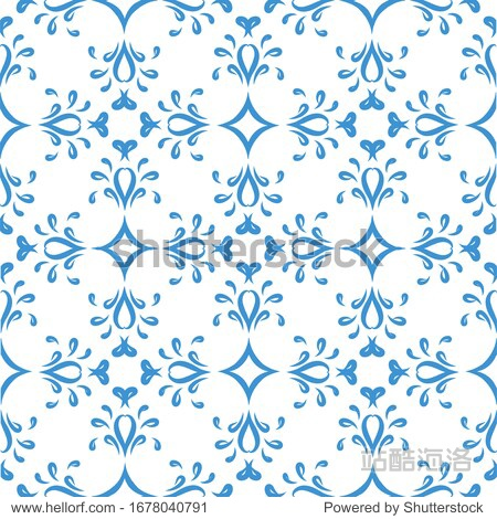 Seamless abstract blue lines pattern on a white background. Suitable for tile  textile  holiday packaging  wallpaper