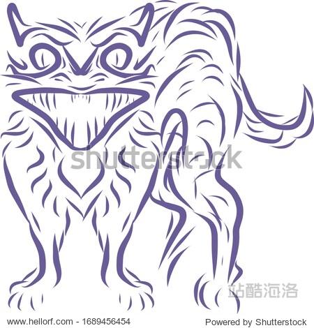 Contour image of a cat. Blue lines. Suitable for book  print  logo