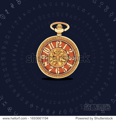 Aletiometer. Antique pocket watch. Vintage vector color engraving illustration for info graphic  poster  web. Isolated on white background.