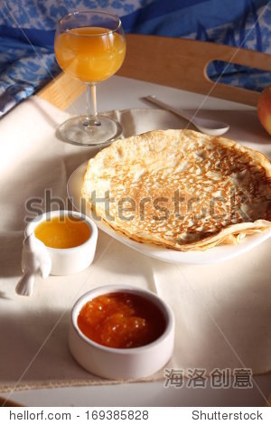 Traditional pancakes served with confitures