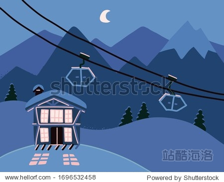 Winter background with a hotel in snowy mountains at night. Wooden living apartment  chalet in resort for skiing  snowboarding. Colorful backdrop with cozy  modern cottage. Flat vector illustration
