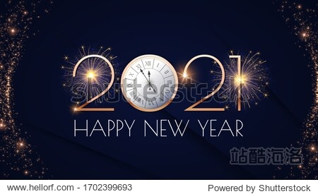 Happy new 2021 year! Elegant gold text with fireworks  clock and light. Minimalistic text template.