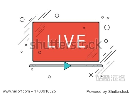 Live stream red vector design element with play button