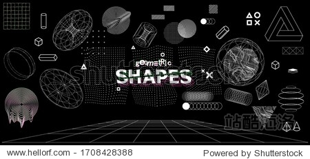 Modern universal trandy geometric shapes and 3D and other elements. Digital abstract set for you design. Cyberpunk  vaporwave in memphis and glitched style. Vector