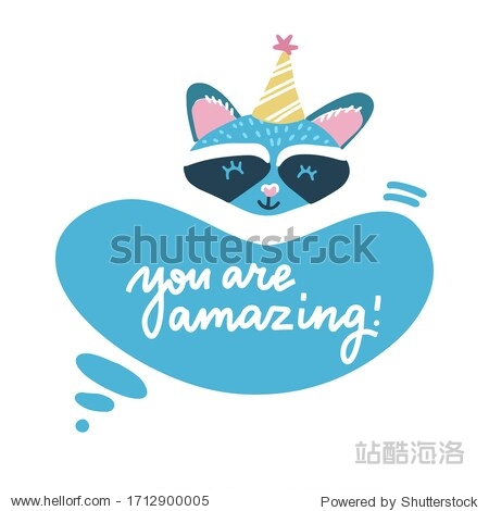 Birthday card with cute cartoon raccoon in party hat. Little funny animal. Children illustration with lettreing text - Yua are amazing. Vector flat hand drawn image