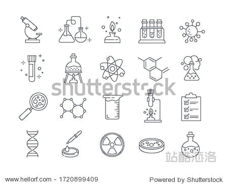 Large set of Chemistry lab and diagrammatic icons showing assorted experiments  glassware and molecules isolated on white for design elements  black and white vector illustration