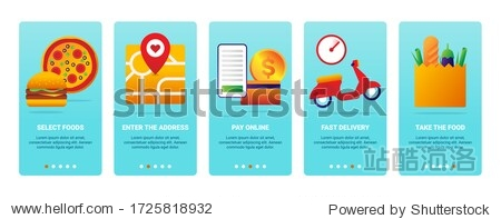 Delivery Service Order Shipping Mobile App Page Onboard Screen Set
