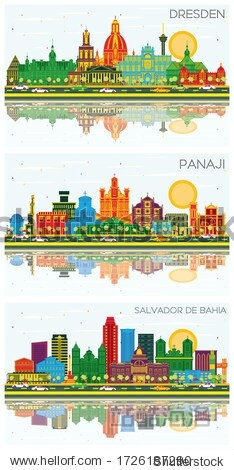 Panaji India  Dresden Germany and Salvador de Bahia Brazil City Skylines Set with Color Buildings  Blue Sky and Reflections. Business Travel and Tourism Concept with Historic Architecture. Cityscapes.