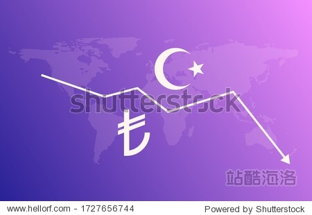 Turkish lira sign money economy currency crisis illustration. Vector lira tl logo design symbol