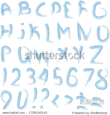 font watercolor splash alphabet handmade