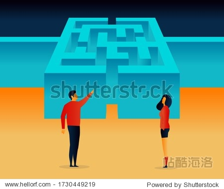 Challenges. Maze. People. Elements Vector illustrayion flat. Trand
