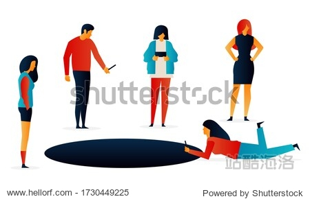 Challenges. Hole. People. Elements Vector illustrayion flat. Trand