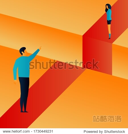 Challenges.  The gulf. Purpose. People. Elements Vector illustrayion flat. Trand