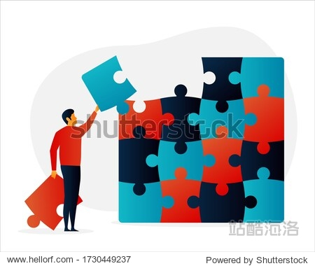 Challenges. Puzzle. People. Elements Vector illustrayion flat. Trand