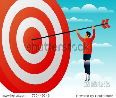 Challenges. Target. Objective. People. Elements Vector illustrayion flat. Trand. Sky