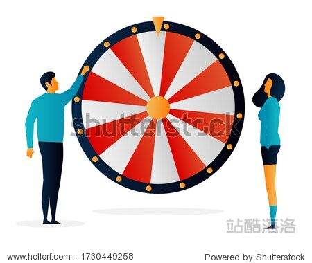 Challenges. Wheel of Fortune. People. Elements Vector illustrayion flat. Trand