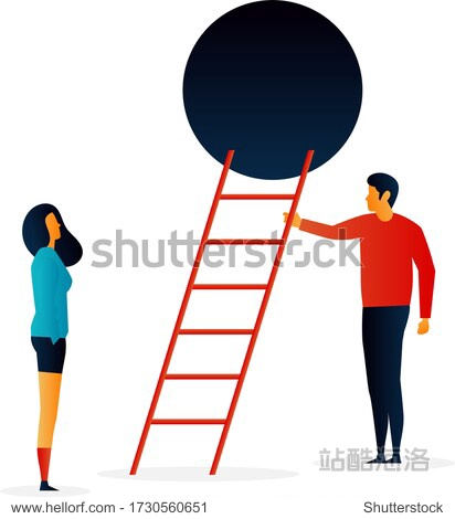 Challenges.  Stairs. People. Elements Vector illustrayion flat. Trand