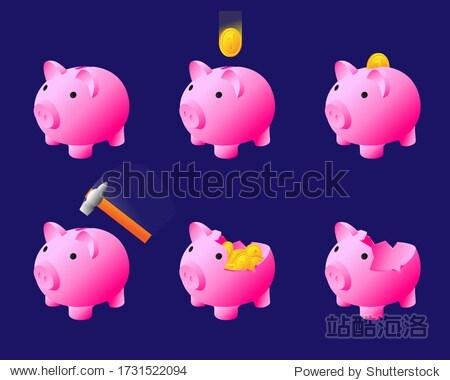 Set Piggy Bank. Coin falling.