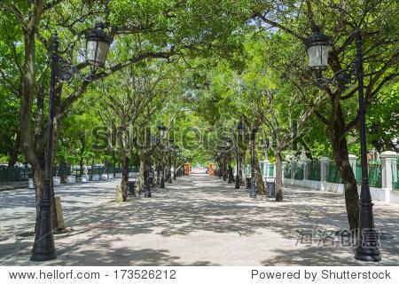 Tree lined avenue Paseo de la Princesa in San Juan  Puerto Rico