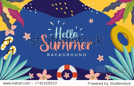 Hello Summer banner. Trendy texture. Season vocation  weekend  holiday logo. Summer Time Wallpaper. Happy summer Day. Summer vector Lettering text. Fashionable styling. Flat design style.