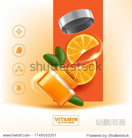 Orange Collagen and Vitamin Vector Template for Skincare or Cosmetic Products Background.