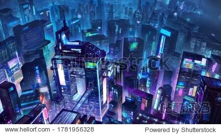 cyberpunk  city  fantasy  2d illustration design  game  concept